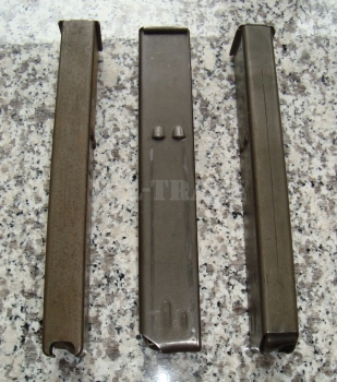 3 x Stahl Magazin UZI / MP2 Kaliber 9mm. GUT! Magazintasche optional